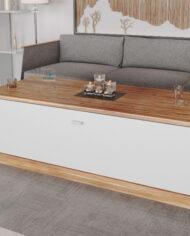 mesa ratona con cajon blanca